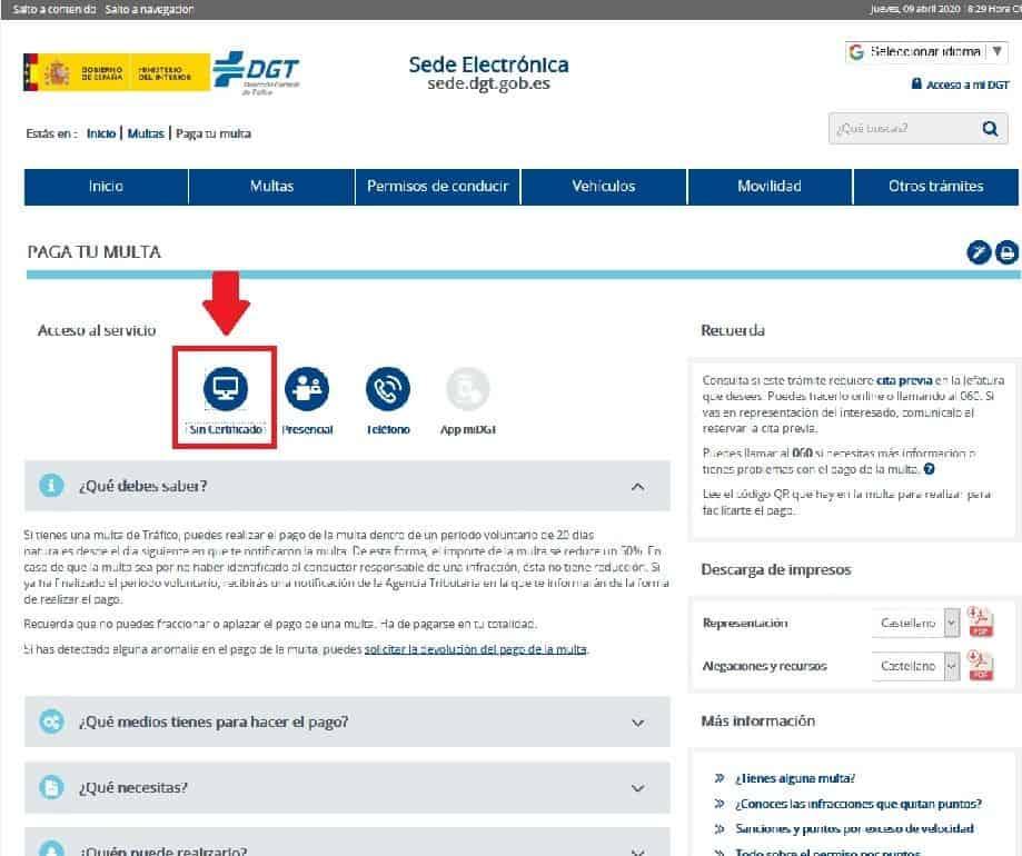 Pagar multas DGT Internet sin certificado